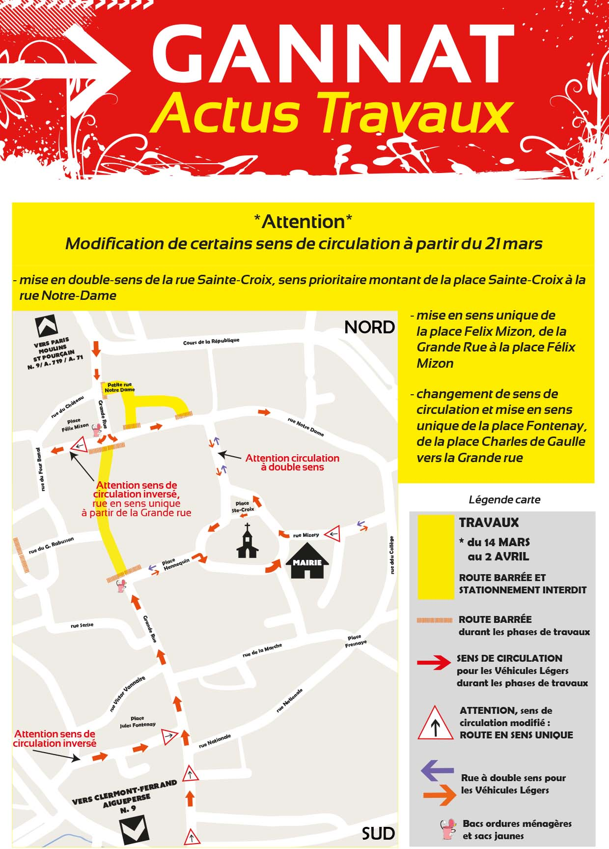 Plan travaux 21 mars au 2 avril
